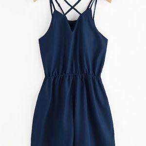 womens s blue romper strappy casual comfy cotton b